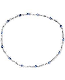 "Sapphire(7 ct. t.w.) & White Topaz (2 ct. t.w.) 17"" Collar in Sterling Silver"