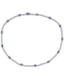 """Emerald (7 ct. t.w.) & White Topaz (2 ct. t.w.) 17"""" Collar in Sterling Silver (Also in Sapphire & Tanzanite)"""