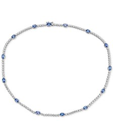 "Tanzanite (7 ct. t.w.) & White Topaz (2 ct. t.w.) 17"" Collar in Sterling Silver"