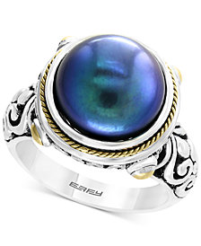 EFFY® Dyed Cultured Freshwater Pearl (12mm) Ring in Sterling Silver & 18k Gold Over Silver