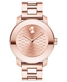 Movado Women's Swiss BOLD Carnation Gold-Tone Stainless Steel Bracelet Watch 36mm