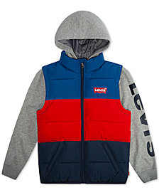 Levi's® Big Boys Colorblocked Hooded Logo Vest