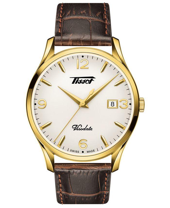 Tissot - Men's Swiss Heritage Visodate Brown Leather Strap Watch 40mm