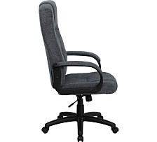 High Back Gray Fabric Executive Swivel Chair With Arms
