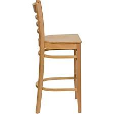 Hercules Series Ladder Back Natural Wood Restaurant Barstool