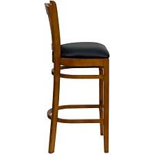 Hercules Series Vertical Slat Back Cherry Wood Restaurant Barstool - Black Vinyl Seat