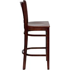 Hercules Series Vertical Slat Back Mahogany Wood Restaurant Barstool