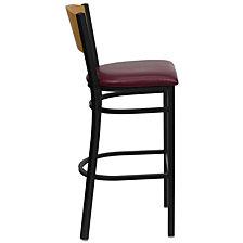 Hercules Series Black Circle Back Metal Restaurant Barstool - Natural Wood Back, Burgundy Vinyl Seat