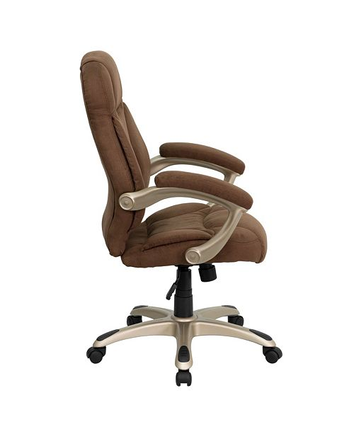 Amazing High Back Brown Microfiber Contemporary Executive Swivel Chair With Arms Pdpeps Interior Chair Design Pdpepsorg