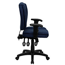 Mid-Back Navy Blue Fabric Multifunction Ergonomic Swivel Task Chair With Adjustable Arms