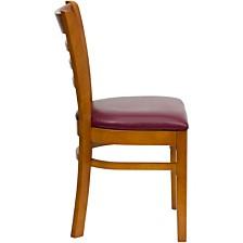 Hercules Series Ladder Back Cherry Wood Restaurant Chair - Burgundy Vinyl Seat