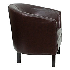 Brown Leather Barrel Shaped Guest Chair