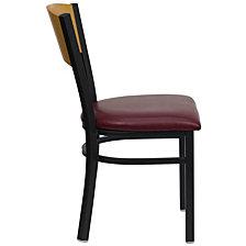 Hercules Series Black Circle Back Metal Restaurant Chair - Natural Wood Back, Burgundy Vinyl Seat