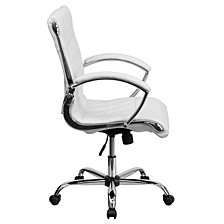 Mid-Back Designer White Leather Executive Swivel Chair With Chrome Base And Arms