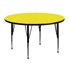 48'' Round Yellow Hp Laminate Activity Table - Height Adjustable Short Legs