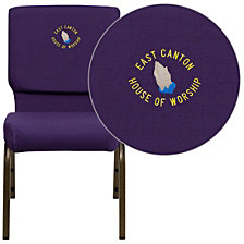Embroidered Hercules Series 18.5''W Stacking Church Chair In Royal Purple Fabric - Gold Vein Frame