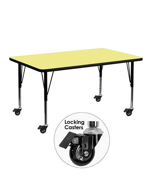 Flash Furniture Mobile 24''W X 48''L Rectangular Yellow Thermal Laminate Activity Table - Height Adjustable Short Legs