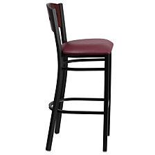 Hercules Series Black 4 Square Back Metal Restaurant Barstool - Mahogany Wood Back, Burgundy Vinyl Seat