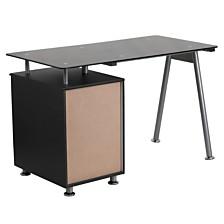 Black Glass Computer Desk With Three Drawer Pedestal