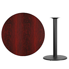 42'' Round Mahogany Laminate Table Top With 24'' Round Bar Height Table Base