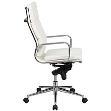 High Back White Leather Executive Swivel Chair With Synchro-Tilt Mechanism And Arms