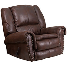 Contemporary Breathable Comfort Padre Fabric Rocker Recliner With Brass Accent Nail Trim