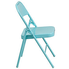 Hercules Colorburst Series Tantalizing Teal Triple Braced & Double-Hinged Metal Folding Chair