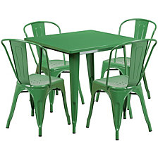 31.5'' Square Green Metal Indoor-Outdoor Table Set With 4 Stack Chairs