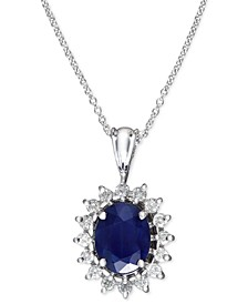 Royalty Inspired by EFFY® Sapphire (1-9/10 ct. t.w.) and Diamond (3/8 ct. t.w.) Oval Pendant in 14k White Gold, Created for Macy's