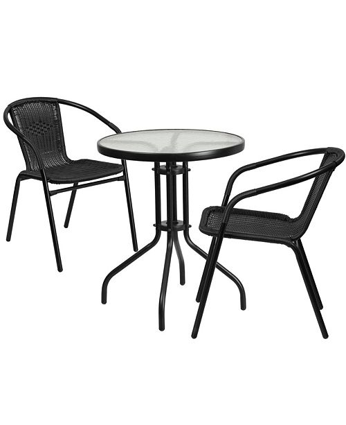 58df967e62 Flash Furniture 23.75'' Round Glass Metal Table With 2 Black Rattan ...