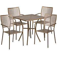 28'' Square Gold Indoor-Outdoor Steel Patio Table Set With 4 Square Back Chairs