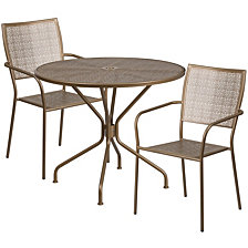 35.25'' Round Gold Indoor-Outdoor Steel Patio Table Set With 2 Square Back Chairs