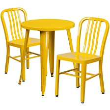 24'' Round Yellow Metal Indoor-Outdoor Table Set With 2 Vertical Slat Back Chairs