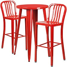 24'' Round Red Metal Indoor-Outdoor Bar Table Set With 2 Vertical Slat Back Stools
