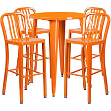 30'' Round Orange Metal Indoor-Outdoor Bar Table Set With 4 Vertical Slat Back Stools