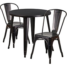 30'' Round Black-Antique Gold Metal Indoor-Outdoor Table Set With 2 Cafe Chairs