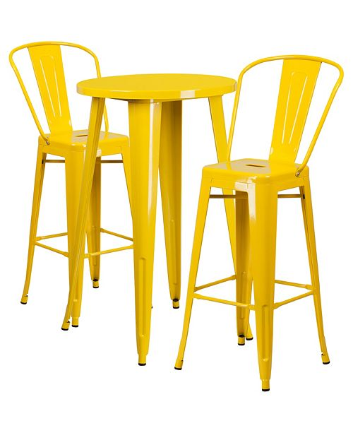 Awe Inspiring 24 Round Yellow Metal Indoor Outdoor Bar Table Set With 2 Cafe Stools Forskolin Free Trial Chair Design Images Forskolin Free Trialorg