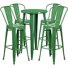 24'' Round Green Metal Indoor-Outdoor Bar Table Set With 4 Cafe Stools