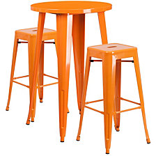 24'' Round Orange Metal Indoor-Outdoor Bar Table Set With 2 Square Seat Backless Stools