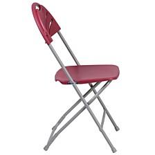 Hercules Series 650 Lb. Capacity Burgundy Plastic Fan Back Folding Chair