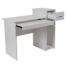 Highland Park White Computer Desk With Shelves And Drawer