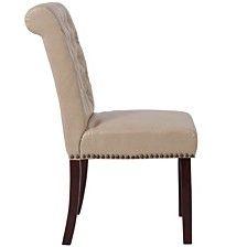 Hercules Series Beige Leather Parsons Chair With Rolled Back, Accent Nail Trim And Walnut Finish