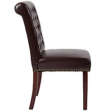 Hercules Series Brown Leather Parsons Chair With Rolled Back, Accent Nail Trim And Walnut Finish