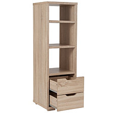 Howell Collection Bookshelf With Storage Drawers In Sonoma Oak Wood Grain Finish