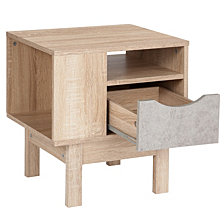 St. Regis Collection End Table In Oak Wood Grain Finish With Gray Drawer
