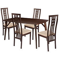 Halstead 5 Piece Espresso Wood Dining Table Set With High Triple Window Pane Back Wood Dining Chairs - Padded Seats