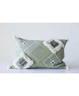 3r Studio Sage Green Pillow W White Decorative Fringe Decorative