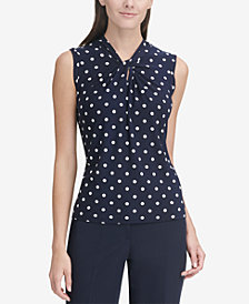Tommy Hilfiger Polka-Dot Knot-Neck Sleeveless Top