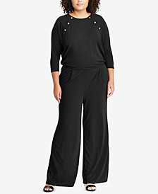 Lauren Ralph Lauren Plus Size Rivet-Trim Jumpsuit