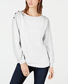 1.STATE Cozy Metallic-Trim Sweatshirt